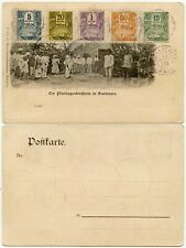 FRENCH GUADELOUPE 1905 POSTAGE DUES on GERMAN PPC SURINAME PLANTAGENKIRCHLEIN