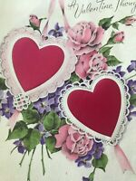 Vintage Valentines Day Card Norcross Lace Heart Pink Roses Violets Purple