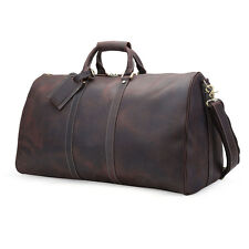 Big Vintage Gift Luggage Men Travel Duffle Cowhide Leather Classic Tote Gym Bags