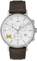Mens University of Michigan Wolverines Watch Chronograph Leather Band Watch