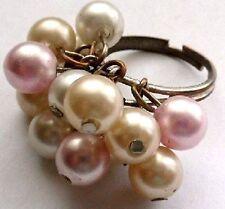bague réglable bijou vintage couleur argent perles pampilles nacre et rose ring