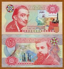Catalonia (Spain), 5000 Pessetes, 2016, Private Issue, Essay UNC > Dali, Gaudi