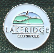"Rare_ Limited Edition _ LAKERIDGE CC 1"" Ni-Silver Plated Golf Ball Marker"