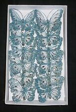 8cm X12 Decorative Glitter Jewelled Clip-on Butterfly Butterflies Wedding Aqua