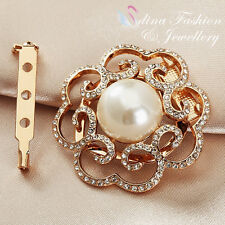 Diamond Hollow Out Rose Scarf Buckle 18K Rose Gold Plated Simulated Pearl &