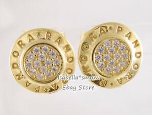 SHINE SIGNATURE Authentic PANDORA Yellow GOLD Plated Stud LOGO Earrings 260559CZ