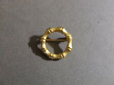 VINTAGE GOLDTONE BAMBOO ROUND SCARF PIN