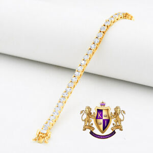 High Quality AAA+ Grade Simulated Diamond Gold Tone 1 Row Tennis Bracelet Unisex