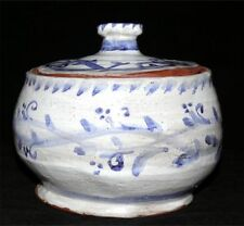 Vintage Pottery Jar Studio Country Rustic White Blue Signed Paw Print