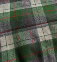 "1.65 yds (56""W) Vintage DK GREED MULTI Wool Plaid Fabric Never Used or Laundered"
