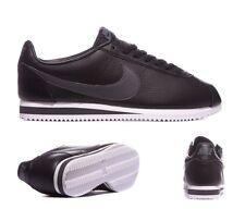 Nike Cortez Entrenadores De Cuero Negro/Gris Oscuro Talla 12 ** Nuevo en Caja ** * PVP £ 65 *