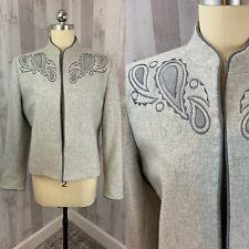 Vintage 1970s LILLI ANN Pale Gray Wool Jacket/Blazer/Coat Appliqué M/40Bust