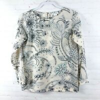 Club Monaco Women's Size XS Floral Silk Long Sleeve Blouse Top Shirt