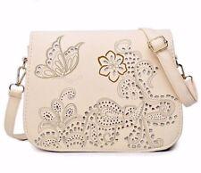 Flowers & Butterfly Beige Women's Bag Purse Boxy Cut Cross-over Faux Leather