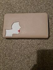 Lulu guinness Wallet Pink Black Lips Retro Zip Round purse