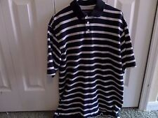 ROUNDTREE & YORKE Size LT Navy Blue and White Stripes 100% Cotton Short Sleeve