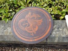 treen POKERWORK  DRAGON  TABLE TOP or upcycle as   TARGE to restore  DRAGONEYE
