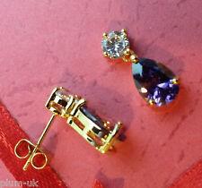 SPD Purple amethyst pear drop & diamante studs 18ct gold gf BOXED Plum UK