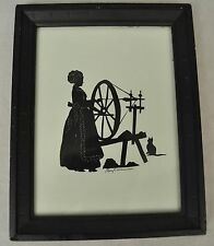 Folk Art Hand Cut Silhouette Woman Spinning Wheel Cat Signed Mary Williamson