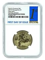 2019 P Sacagawea Coin And Currency Set Dollar NGC SP69 First Day Issue
