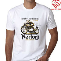 New Norton Motorcycle Roadholder Made in England Men's White T-Shirt Size S-3XL