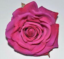 "5"" Fuchsia Pink Rose Silk Flower Hair Clip Pin-Up Updo Wedding Bridesmaid"