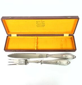 French Carving knife & Fork boxed Bordeaux Silver handles Minerva mark 19th cent