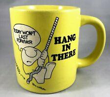 "Vintage 1980s ZIGGY ""Hang In There"" Yellow Stoneware Coffee Mug Tom Wilson"