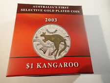 Australia 2003 Silver $1 Proof coin Kangaroo Gold Plated cv $185