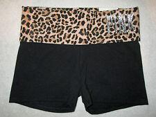 Victoria's Secret PINK Bling Yoga Leopard Foldover Waist Shortie Shorts XS NWT