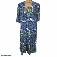 Wayward Fancies By Eshakti Floral Midi Dress Lined Pockets V-neck 2X