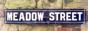 MEADOW STREET ENAMEL ROAD SIGN PORCELAIN ADVERTISING PLAQUE