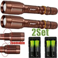 2Set Tactical Zoom 12000LM CREE XML T6 LED Flashlight+Charger+18650 Battery OE