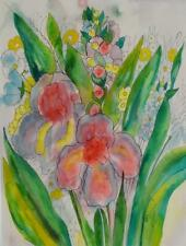 GORGEOUS BRAZILLIA ORIGINAL MID-CENTURY WATERCOLOR WITH LUSH FLORAL MOTIF FRAMED