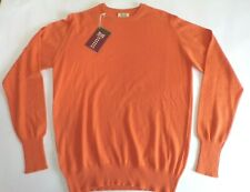 "William Lockie crew neck 2 ply pure cashmere sweater pullover jumper 40"" orange"