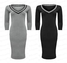 Women Ladies NEW Office Varsity Stripe Plain Long Midi Bodycon Sleeve Dress 8-14