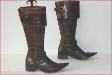 MINELLI Bottes Pointues Cuir Marron Cognac T 36 BE