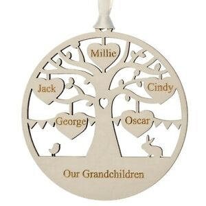 Engraved family tree decoration grandparent gift 2-8 names engraved keepsake13cm