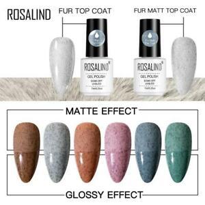 Fur Top Coat Matt Gloss Nail Gel Polish Colour UV LED Top Base Coat  ROSALIND UK
