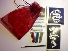 MINI GLITTER TATTOO KIT party bag fillers Dragons 3 glitters 2 large stencil