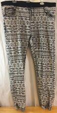 Born Fly Revolutionaries Gray 100% Cotton Pants Aztec Design Men's Size 2XL