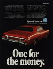 1973 PLYMOUTH DUSTER 340 Red & White Sports Car - One For The Money - VINTAGE AD