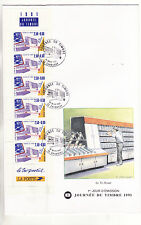 enveloppe 1er jour  journée du timbre  bande carnet   ; 1991