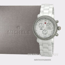 Authentic MICHELE Ladies Ceramic Diamond Bezel Chronograph Watch MWW03N000001