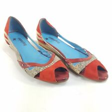 FARYL ROBIN SANDALS Anthro Shoes Flats Open Toe red snakeskin sz 8.5