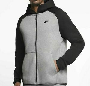 NIKE TECH FLEECE Full Zip MEN'S HOODIE Size XL  Black/ Grey Heather