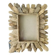 """Weathered Drift Wood Picture Frame Holds 5"""" x 7"""" Photo Nautical Rustic Beach"""