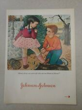VTG 1950 Original Magazine Ad Band-Aid Products Pink Skirt Knee Girl Boy Help B