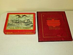 Antique Vtg Eagle Pencil Company Box & RARE Salesman Sample Writing Products