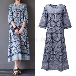 US STOCK Women's Linen Cotton Summer Vintage Kaftan Floral Long Maxi Shirt Dress